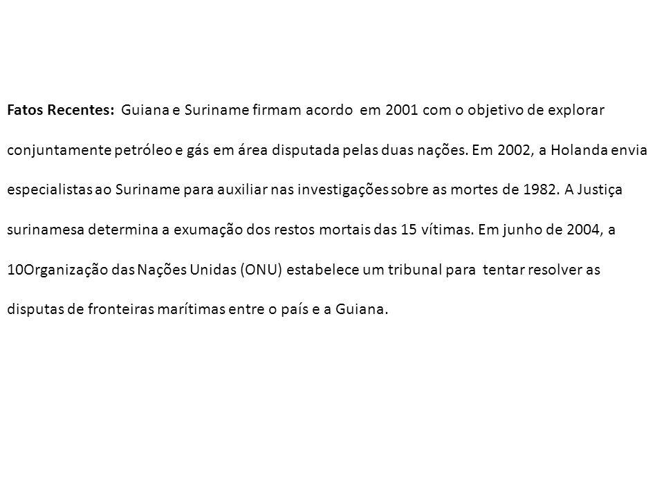 Fatos Recentes: Guiana e Suriname firmam acordo em 2001 com o objetivo de explorar