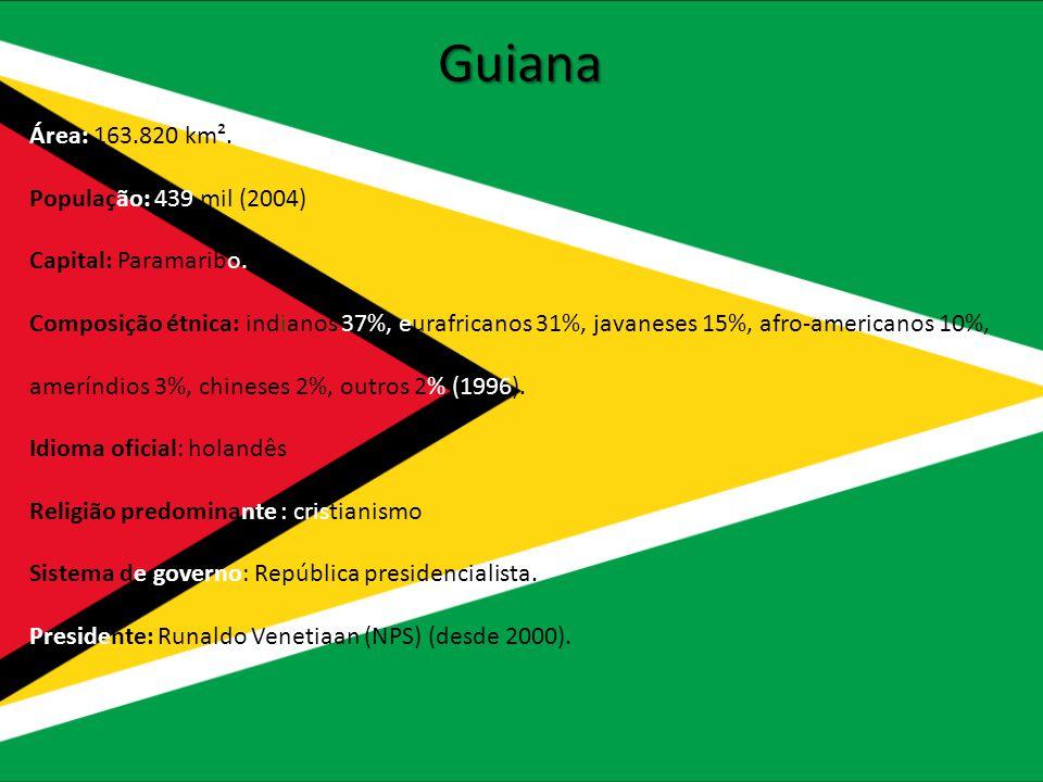 Guiana Área: 163.820 km². População: 439 mil (2004)