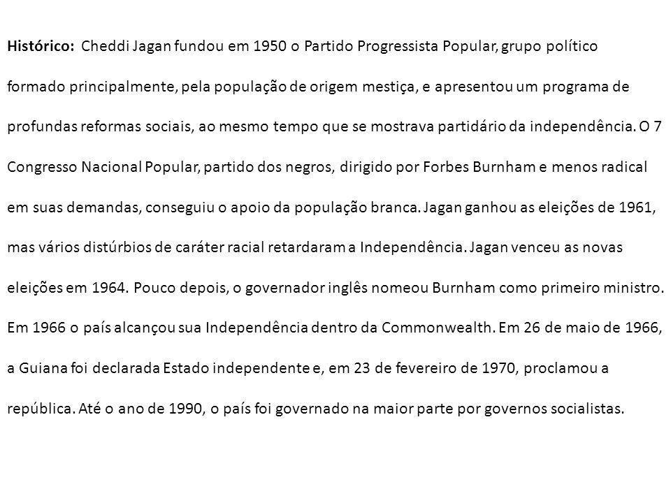 Histórico: Cheddi Jagan fundou em 1950 o Partido Progressista Popular, grupo político