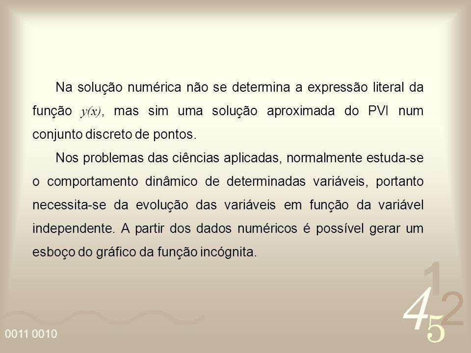 Na solução numérica não se determina a expressão literal da função y(x), mas sim uma solução aproximada do PVI num conjunto discreto de pontos.