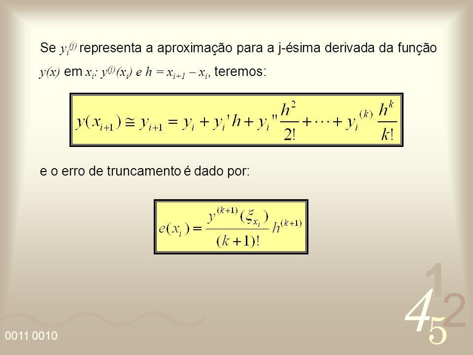 Se yi(j) representa a aproximação para a j-ésima derivada da função y(x) em xi: y(j)(xi) e h = xi+1 – xi, teremos: