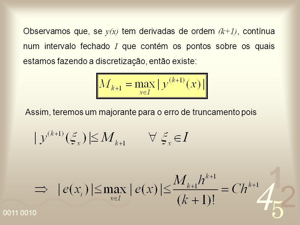 Observamos que, se y(x) tem derivadas de ordem (k+1), contínua num intervalo fechado I que contém os pontos sobre os quais estamos fazendo a discretização, então existe: