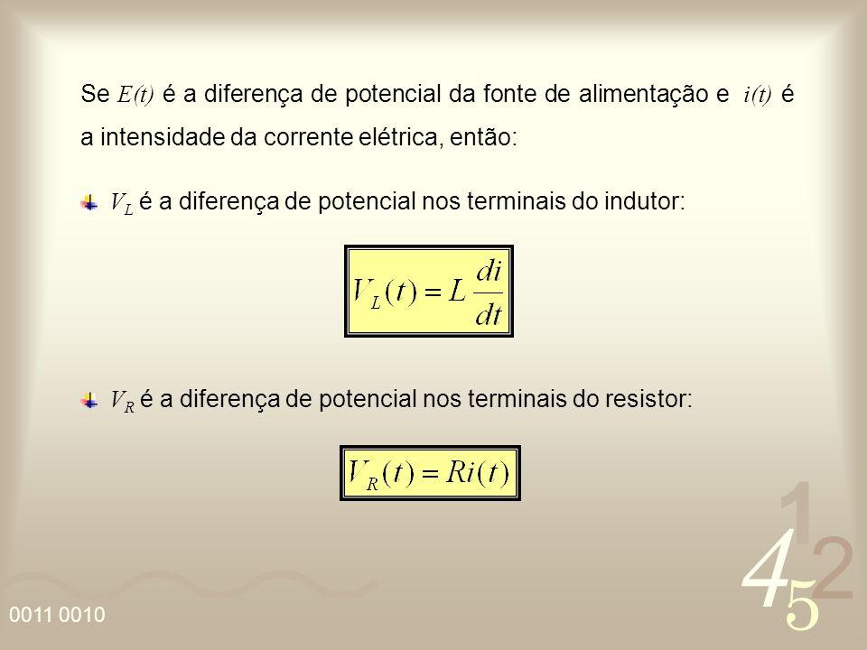 Se E(t) é a diferença de potencial da fonte de alimentação e i(t) é a intensidade da corrente elétrica, então: