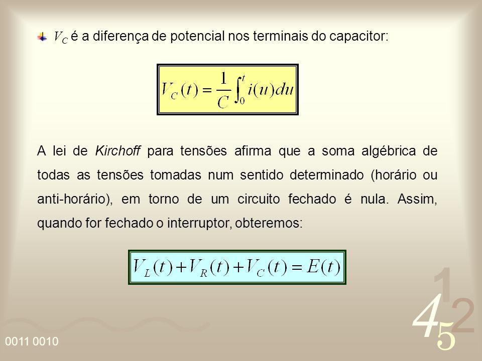 VC é a diferença de potencial nos terminais do capacitor: