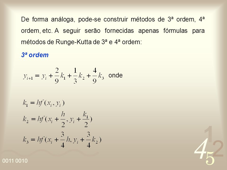 De forma análoga, pode-se construir métodos de 3ª ordem, 4ª ordem, etc