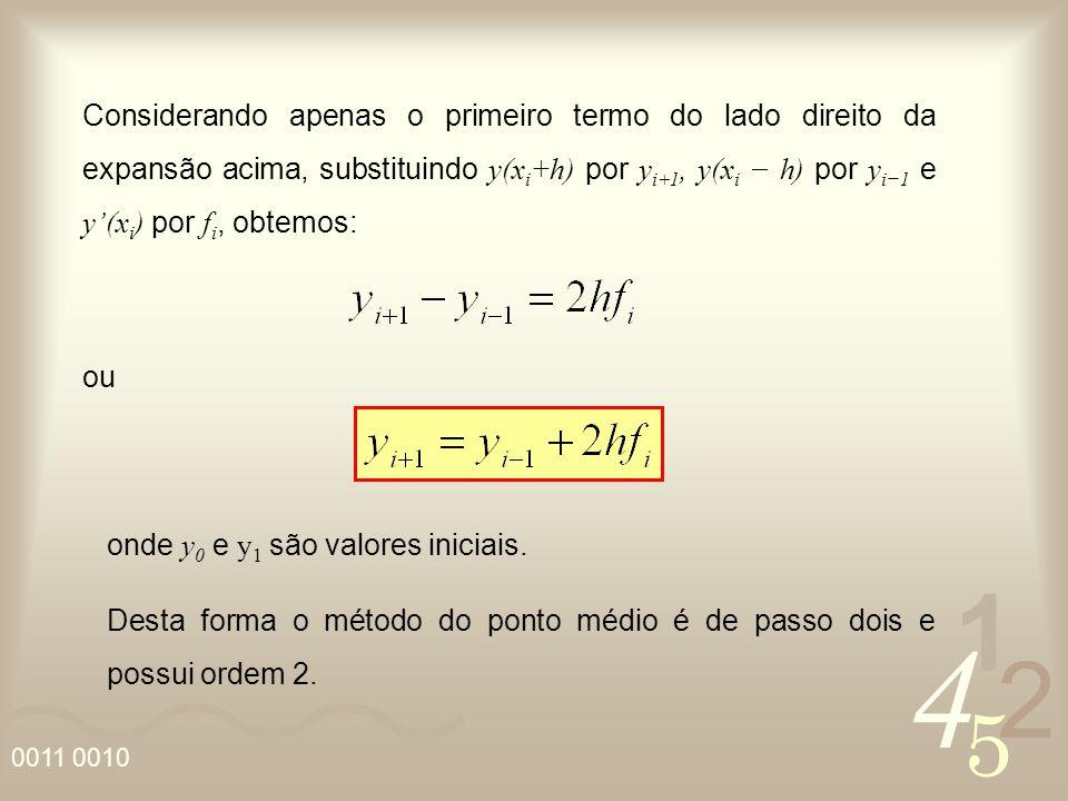 Considerando apenas o primeiro termo do lado direito da expansão acima, substituindo y(xi+h) por yi+1, y(xi − h) por yi−1 e y'(xi) por fi, obtemos: