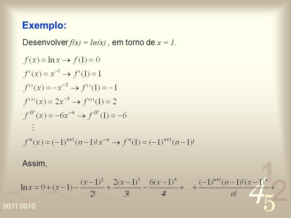 Exemplo: Desenvolver f(x) = ln(x) , em torno de x = 1. Assim,