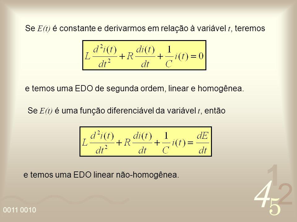 Se E(t) é constante e derivarmos em relação à variável t, teremos