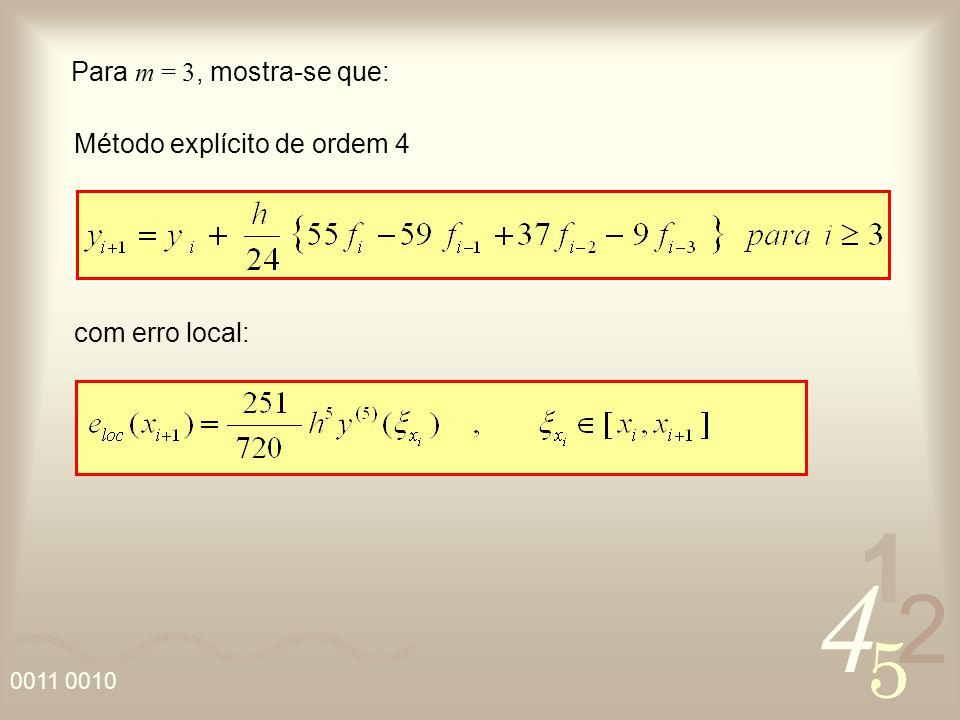 Para m = 3, mostra-se que: Método explícito de ordem 4 com erro local: