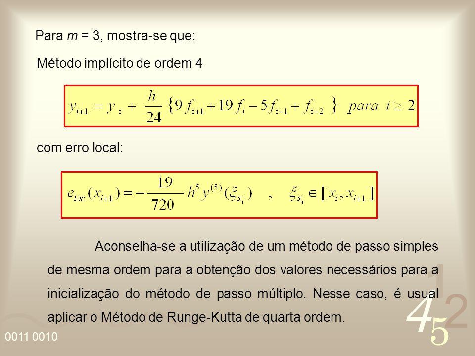 Para m = 3, mostra-se que: Método implícito de ordem 4. com erro local: