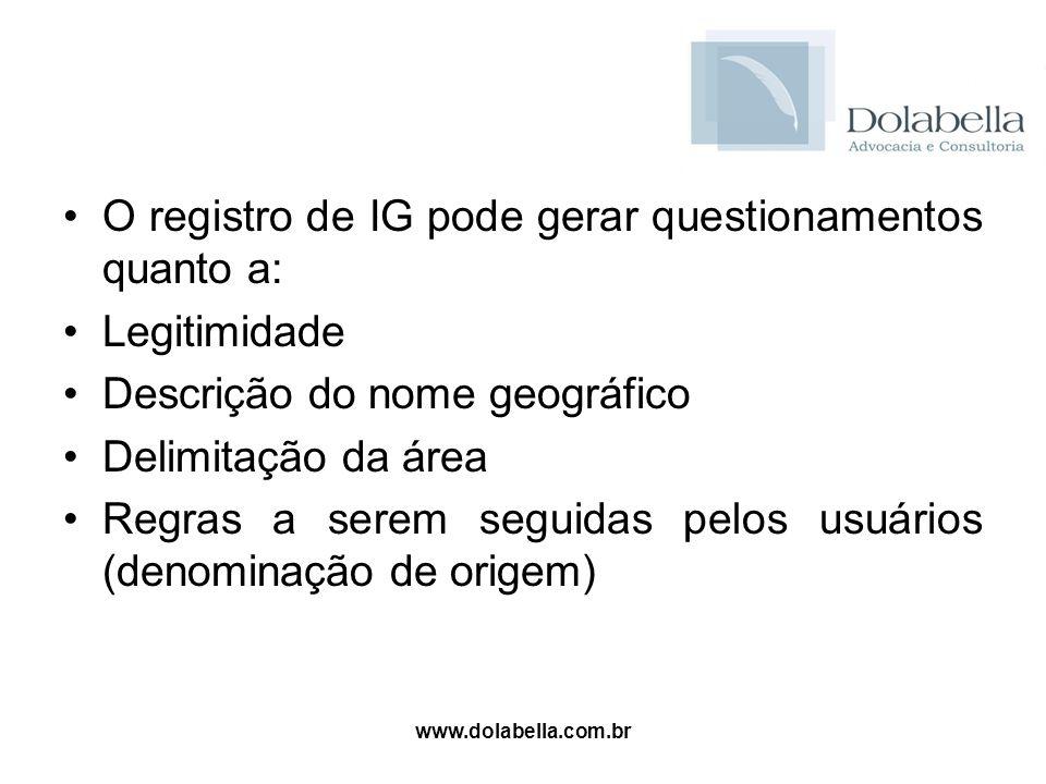 O registro de IG pode gerar questionamentos quanto a: Legitimidade