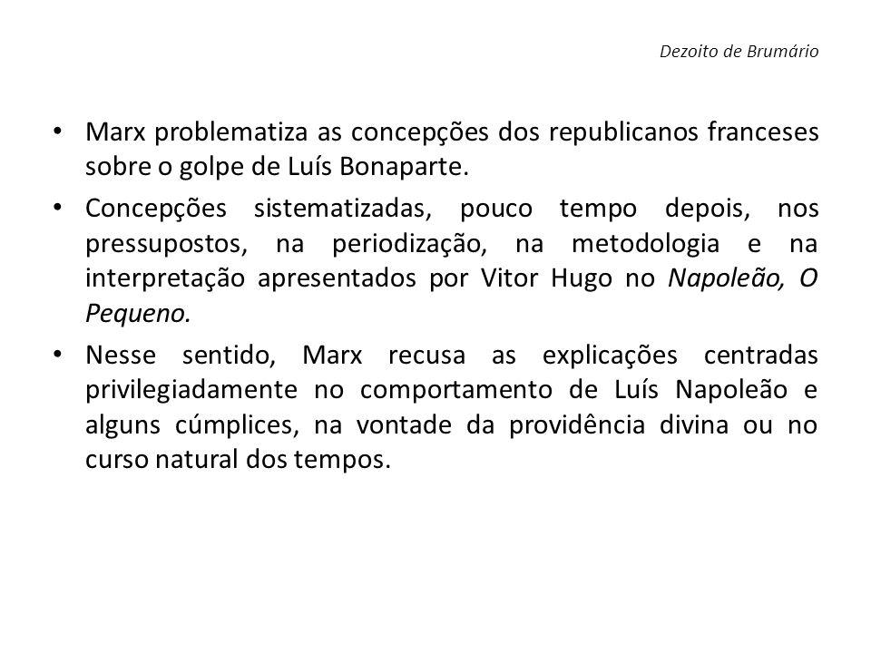 Dezoito de Brumário Marx problematiza as concepções dos republicanos franceses sobre o golpe de Luís Bonaparte.