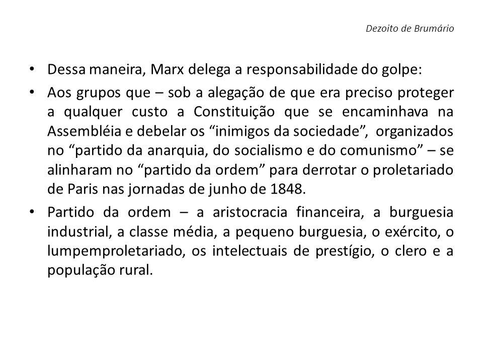 Dessa maneira, Marx delega a responsabilidade do golpe: