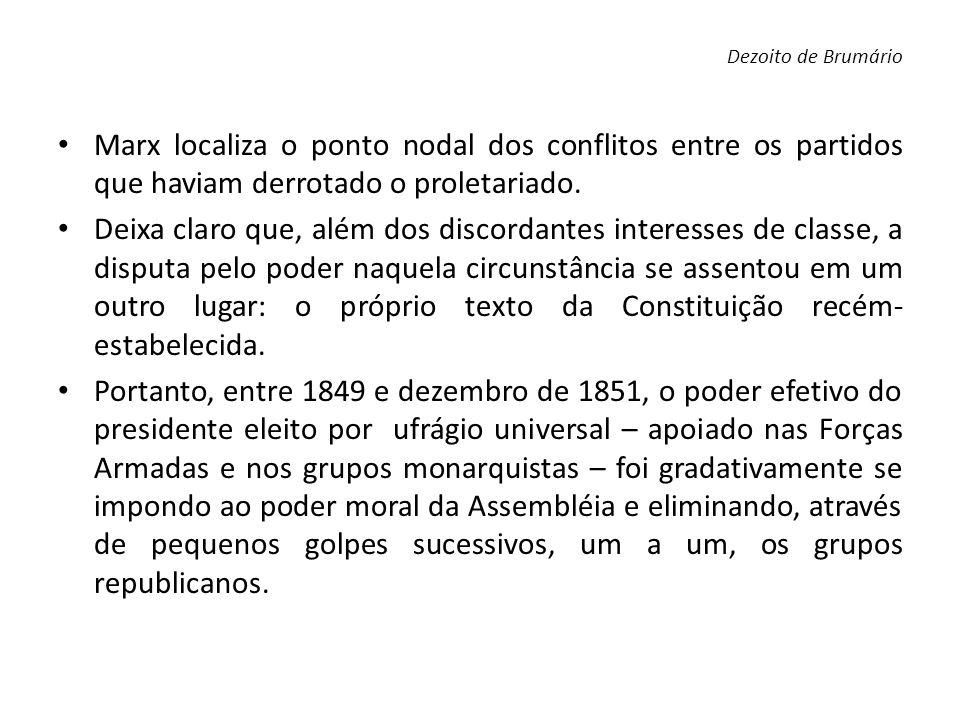 Dezoito de Brumário Marx localiza o ponto nodal dos conflitos entre os partidos que haviam derrotado o proletariado.