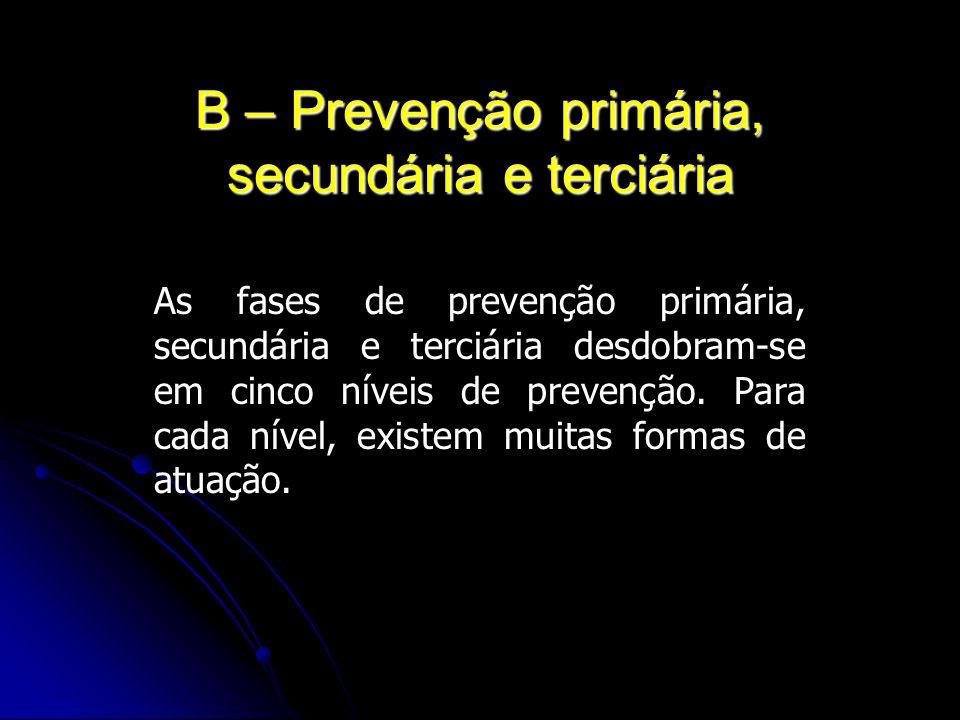 B – Prevenção primária, secundária e terciária