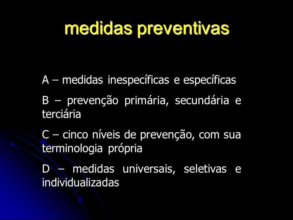medidas preventivas A – medidas inespecíficas e específicas