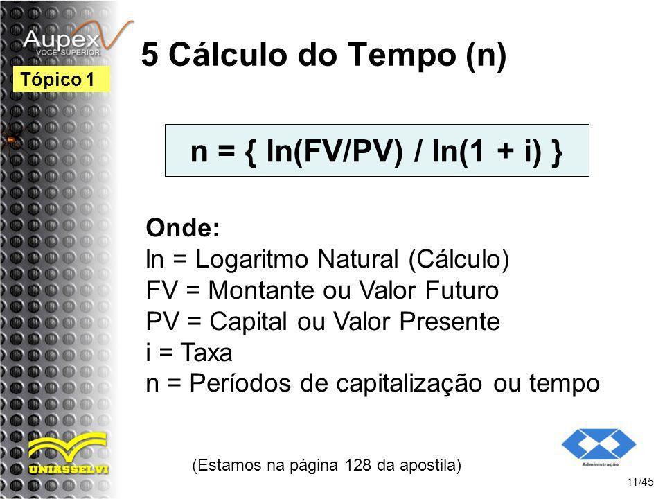 n = { ln(FV/PV) / ln(1 + i) }
