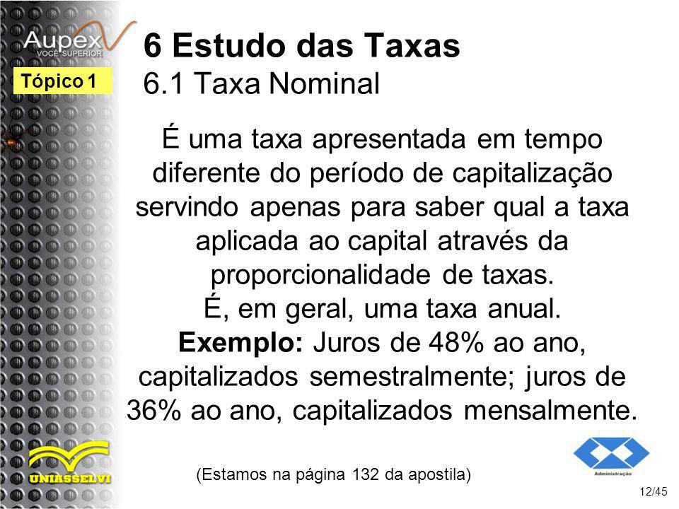 6 Estudo das Taxas 6.1 Taxa Nominal