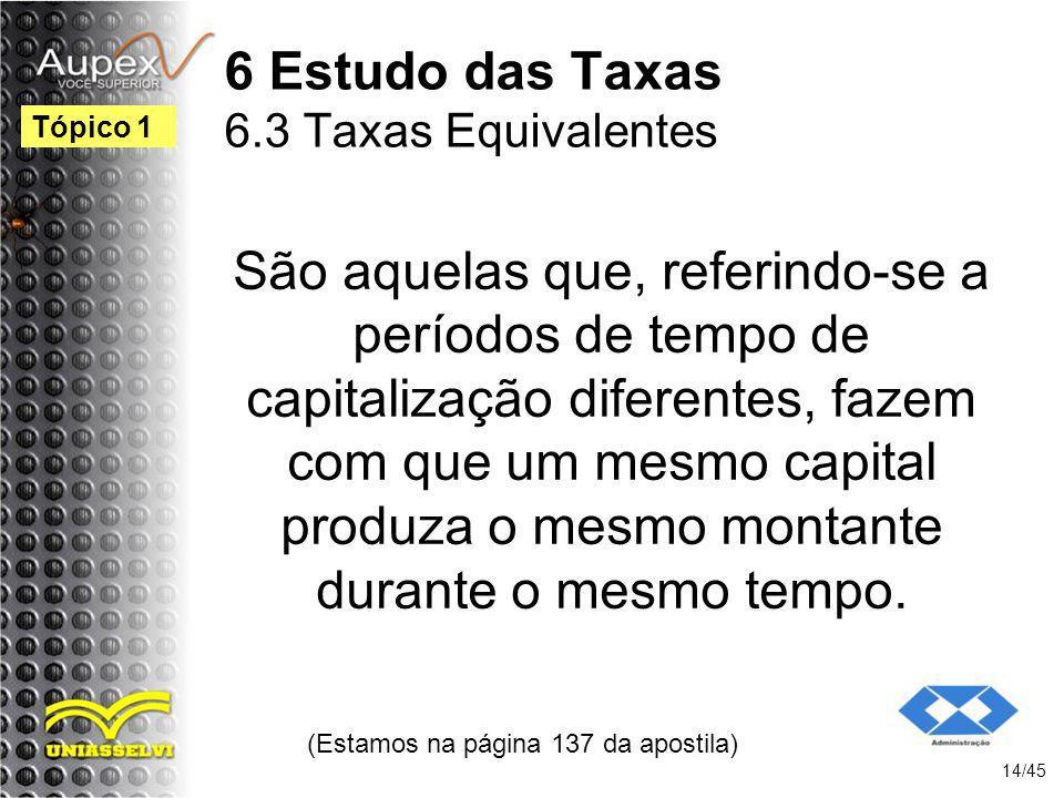 6 Estudo das Taxas 6.3 Taxas Equivalentes
