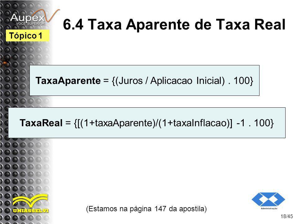 6.4 Taxa Aparente de Taxa Real