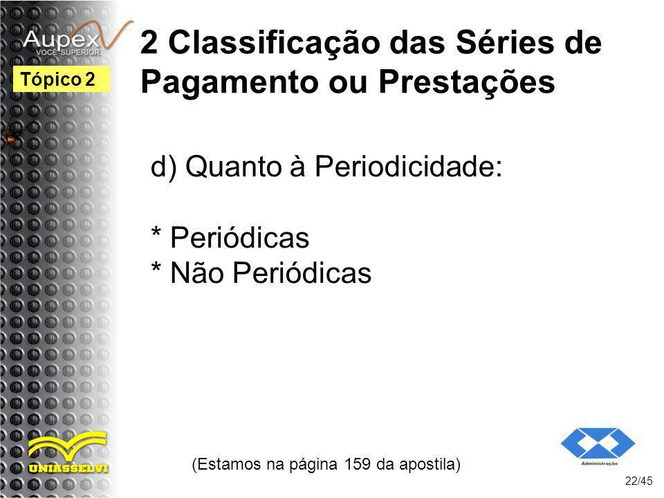 2 Classificação das Séries de Pagamento ou Prestações