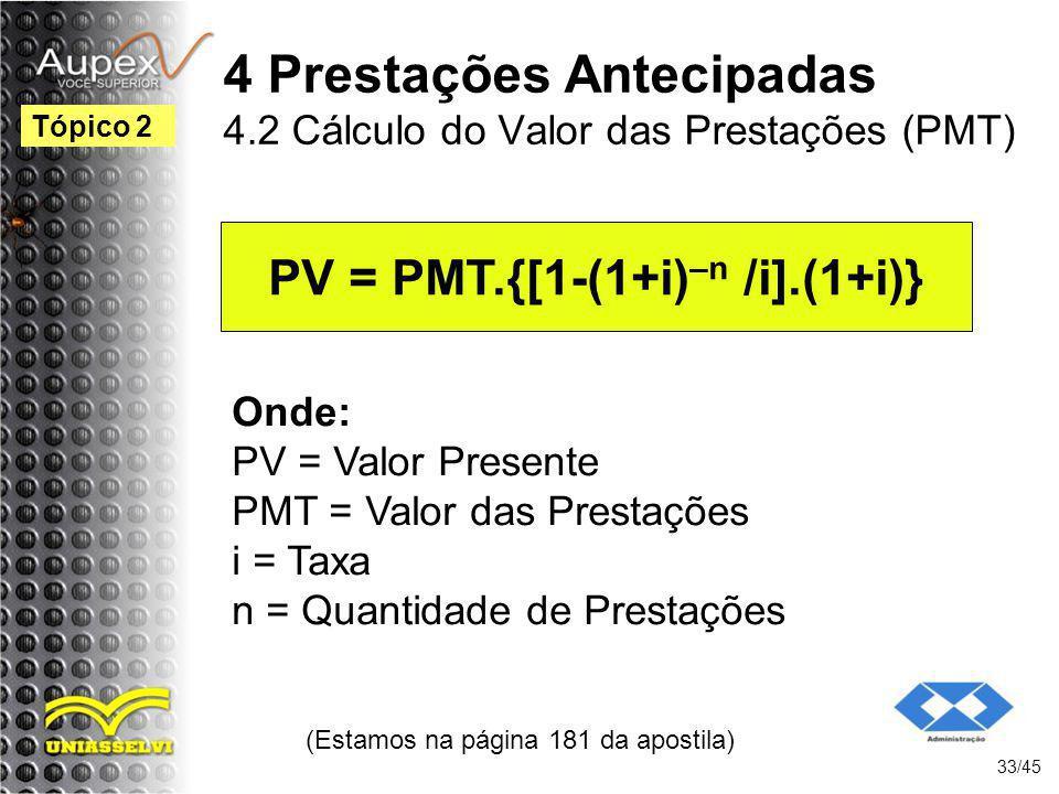 4 Prestações Antecipadas 4.2 Cálculo do Valor das Prestações (PMT)