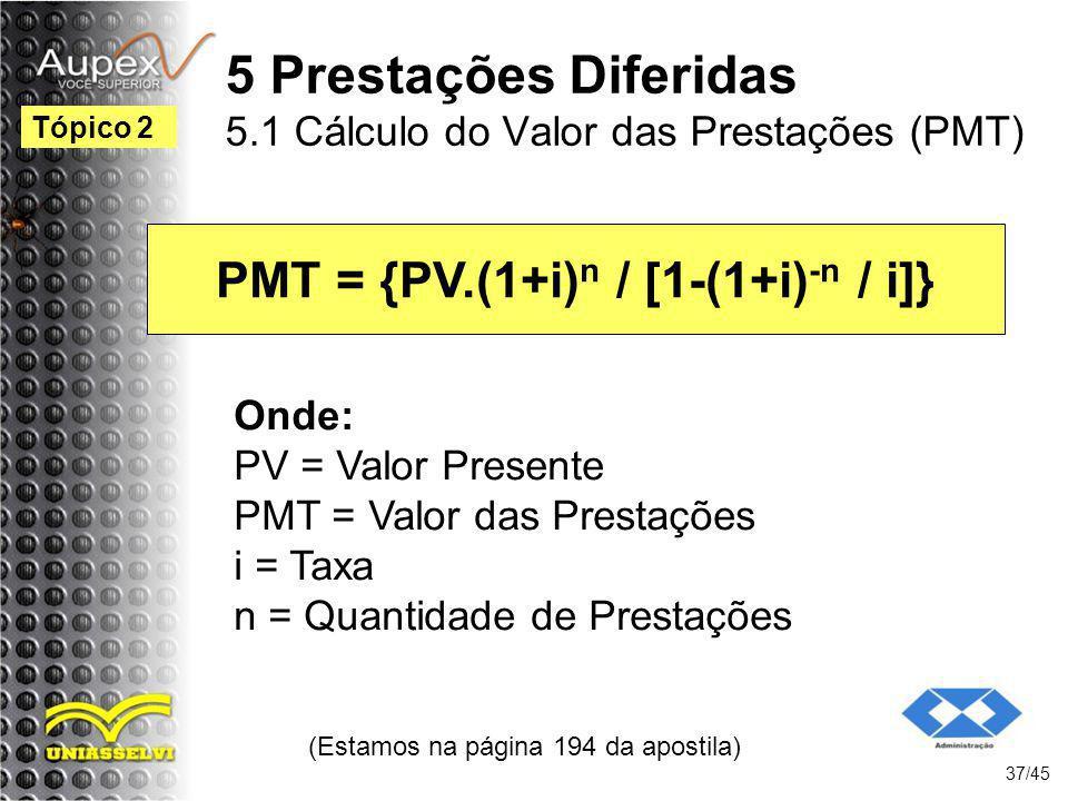 5 Prestações Diferidas 5.1 Cálculo do Valor das Prestações (PMT)