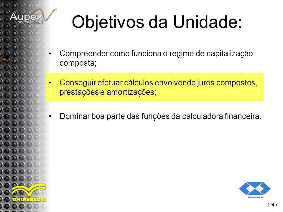 Objetivos da Unidade: Compreender como funciona o regime de capitalização composta;
