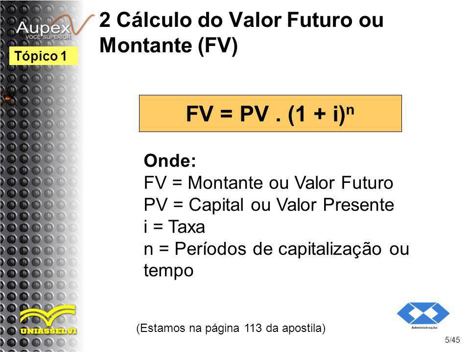 2 Cálculo do Valor Futuro ou Montante (FV)