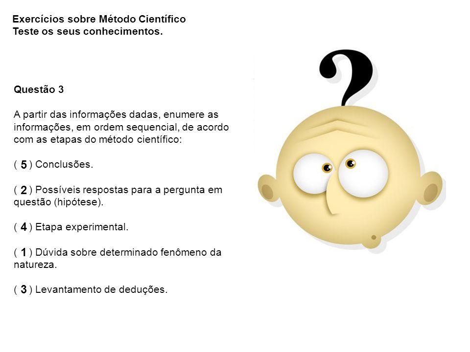 5 2 4 1 3 Exercícios sobre Método Científico
