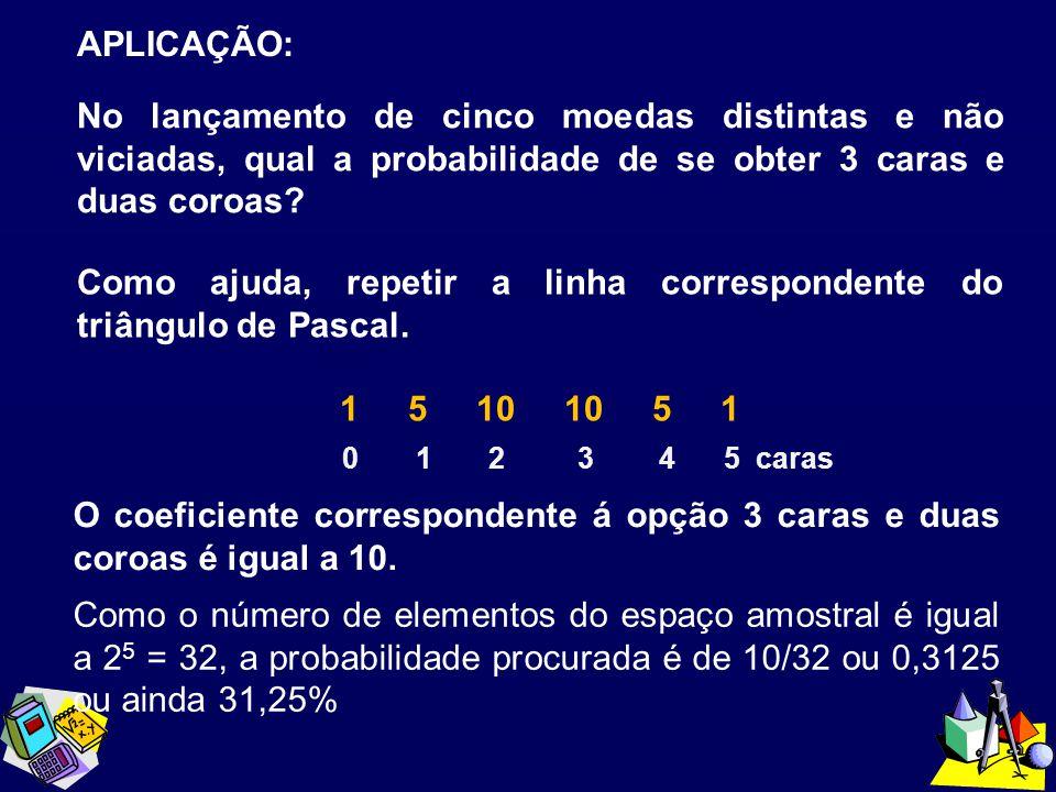 APLICAÇÃO: No lançamento de cinco moedas distintas e não viciadas, qual a probabilidade de se obter 3 caras e duas coroas