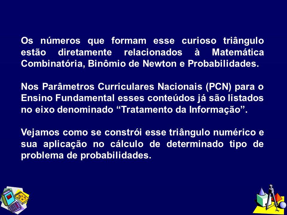 Os números que formam esse curioso triângulo estão diretamente relacionados à Matemática Combinatória, Binômio de Newton e Probabilidades.