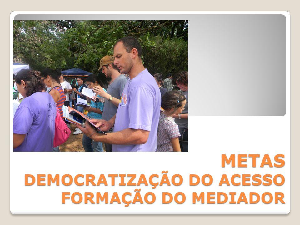 METAS DEMOCRATIZAÇÃO DO ACESSO FORMAÇÃO DO MEDIADOR