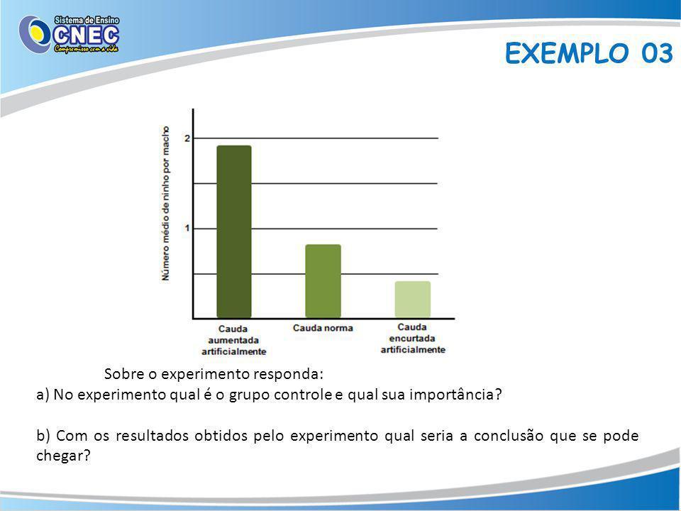 EXEMPLO 03 Sobre o experimento responda:
