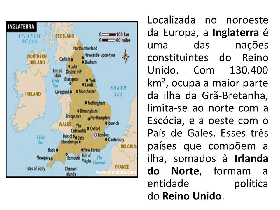 Localizada no noroeste da Europa, a Inglaterra é uma das nações constituintes do Reino Unido.