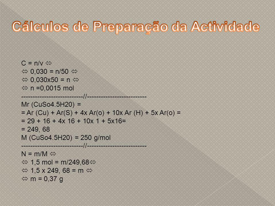 Cálculos de Preparação da Actividade