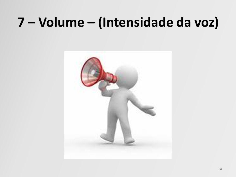 7 – Volume – (Intensidade da voz)