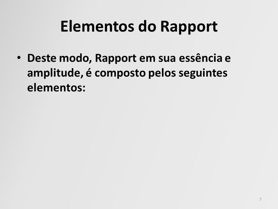 Elementos do Rapport Deste modo, Rapport em sua essência e amplitude, é composto pelos seguintes elementos: