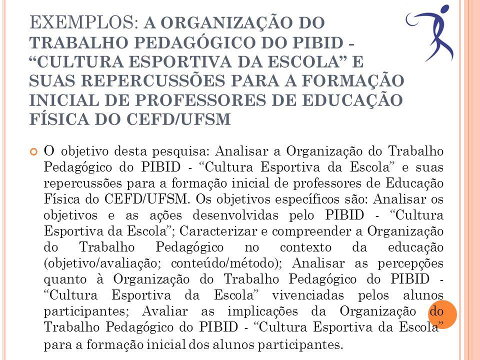 EXEMPLOS: A ORGANIZAÇÃO DO TRABALHO PEDAGÓGICO DO PIBID - CULTURA ESPORTIVA DA ESCOLA E SUAS REPERCUSSÕES PARA A FORMAÇÃO INICIAL DE PROFESSORES DE EDUCAÇÃO FÍSICA DO CEFD/UFSM