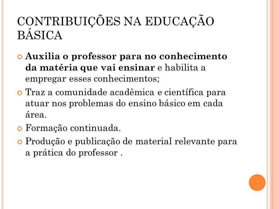 CONTRIBUIÇÕES NA EDUCAÇÃO BÁSICA