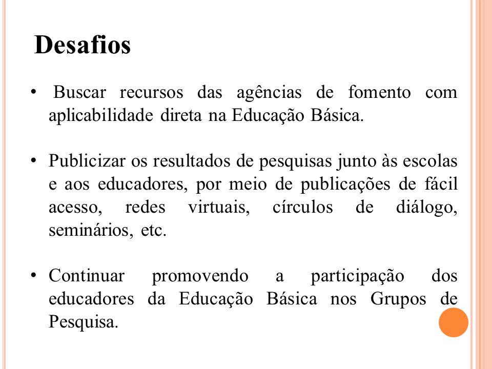 Desafios Buscar recursos das agências de fomento com aplicabilidade direta na Educação Básica.