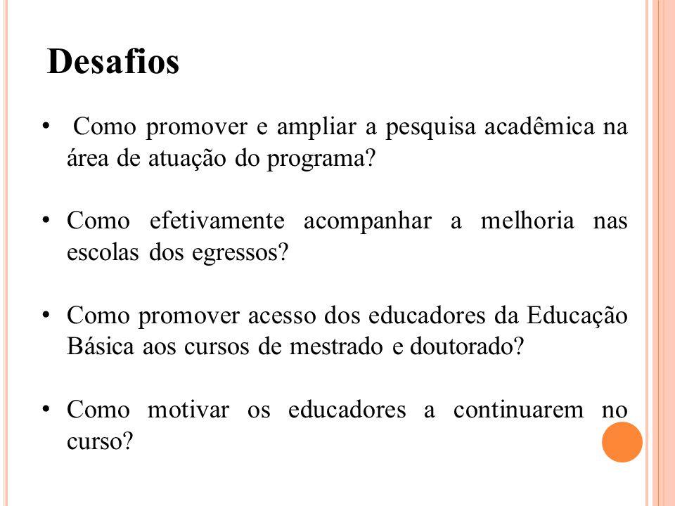 Desafios Como promover e ampliar a pesquisa acadêmica na área de atuação do programa