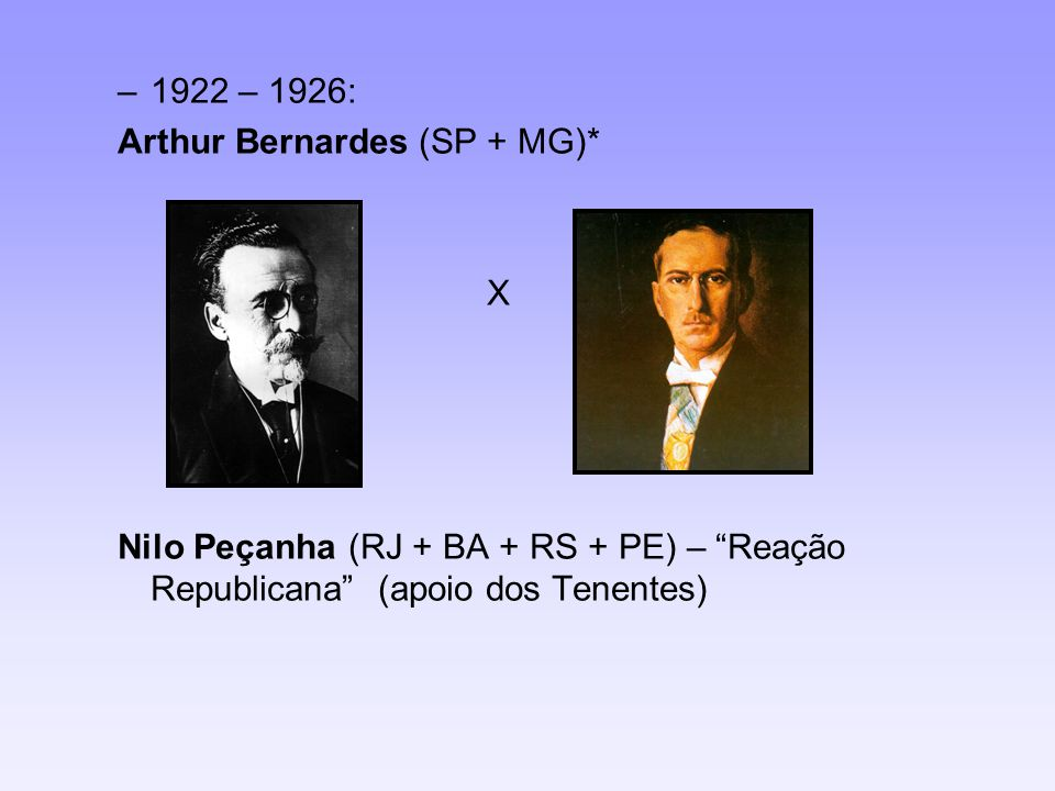 1922 – 1926: Arthur Bernardes (SP + MG)* X.