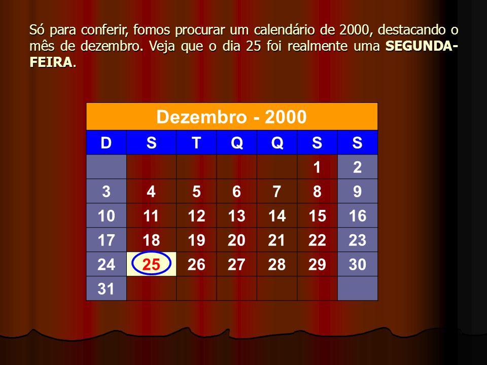 Só para conferir, fomos procurar um calendário de 2000, destacando o mês de dezembro. Veja que o dia 25 foi realmente uma SEGUNDA-FEIRA.