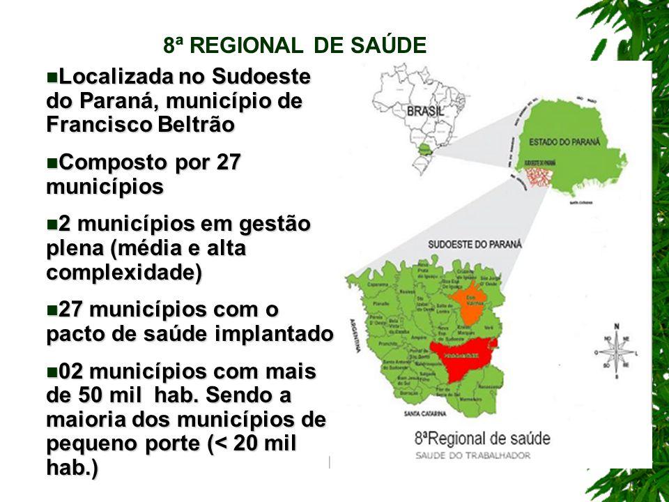 8ª REGIONAL DE SAÚDE Localizada no Sudoeste do Paraná, município de Francisco Beltrão. Composto por 27 municípios.