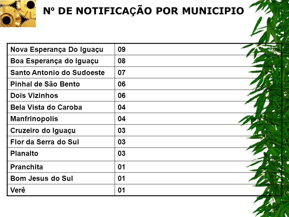 Nº DE NOTIFICAÇÃO POR MUNICIPIO