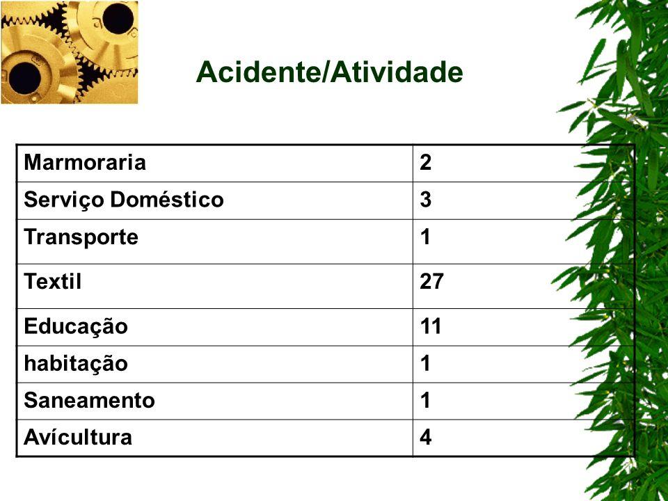 Acidente/Atividade Marmoraria 2 Serviço Doméstico 3 Transporte 1