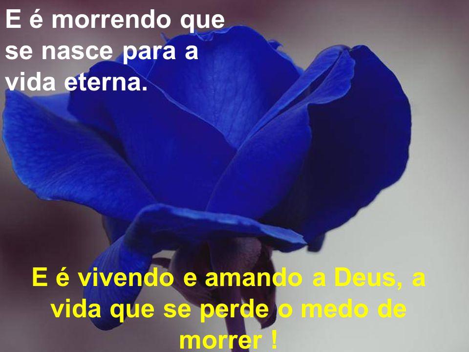 E é vivendo e amando a Deus, a vida que se perde o medo de morrer !