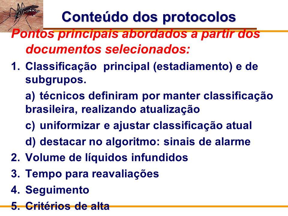 Conteúdo dos protocolos