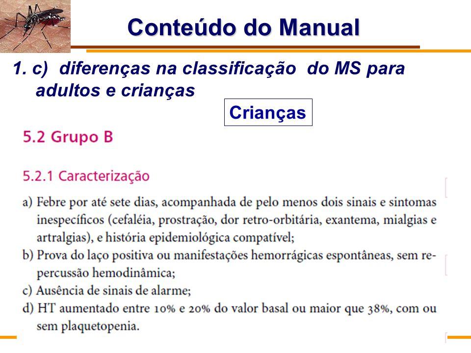 Conteúdo do Manual 1. c) diferenças na classificação do MS para adultos e crianças Crianças